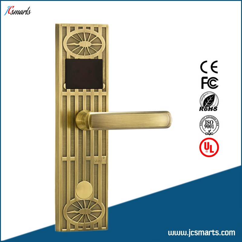 Electric key card hotel lock system RFID electronic door lock hotel lock system rfid t5577 hotel lock gold silver zinc alloy forging material sn ca 8037