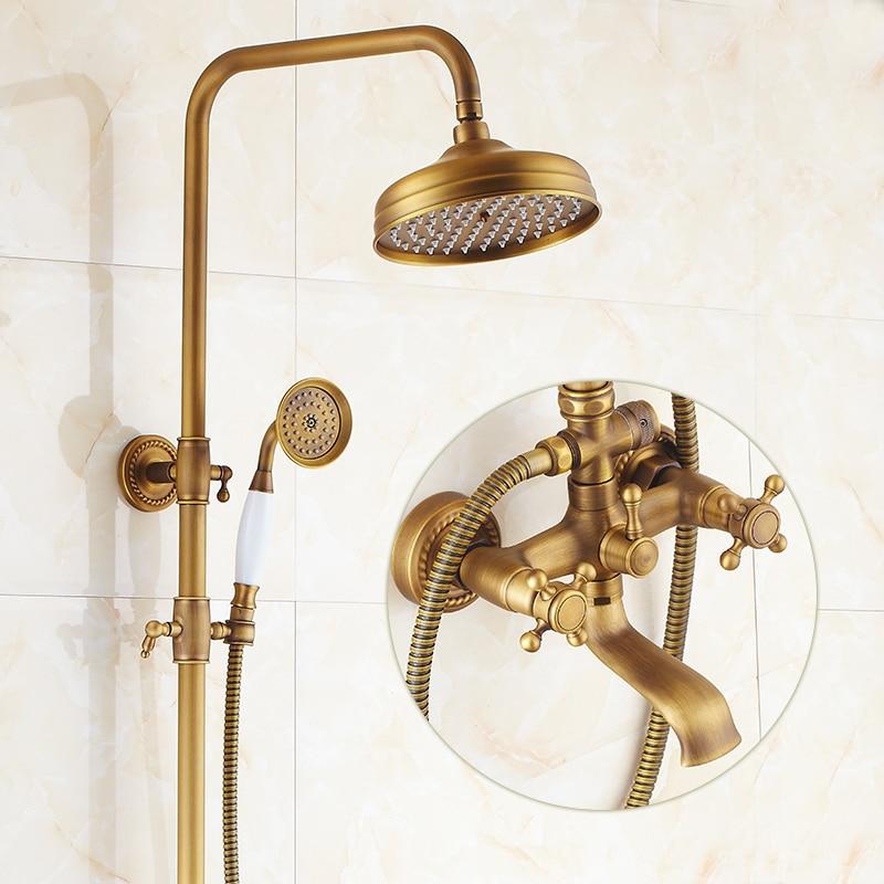 Salle de bains Rétro antique de cuivre En Laiton Baignoire Douche Set Mur Précipitations Douche Mitigeur Robinet 3-fonctions Mélangeur Valve