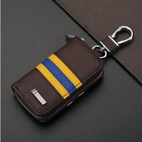 New Striated Car Key Ring Brown Auto Key Case For Opel Hyundai Peugeot Mazda Jaguar Mitsubishi
