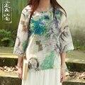 Nuevo 2016 Primavera Verano Flor Impresa Blusa de Manga tres cuartos de Las Mujeres O Cuello de hilo de seda salvaje Camisas Ropa Mujer