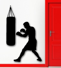 Free Shipping Boxing Boxer Sports Wall Decal Punching Bag Martial Sticker Vinyl Art MuraL KW-3343