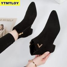 Fashion Women Boots Casual Leather Low High Heels Spring Shoes Woman Pointed Toe