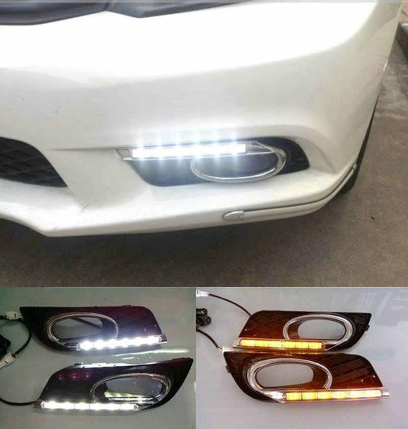 مُرحل طراز إشارة الانعطاف 12 فولت LED للسيارة DRL ملحقات أضواء النهار الجري مع أغطية مصباح الضباب لهوندا سيفيك 9th 2012 2013