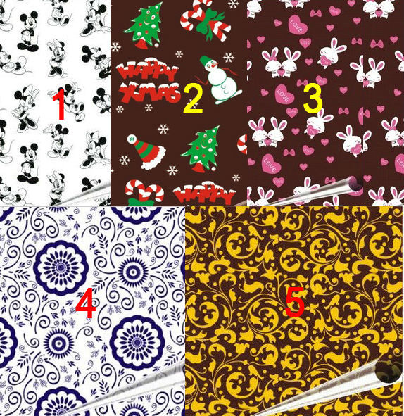 5patterns Chocolate Candy Cake Frosting Transfer Sheets Mold Edible Paper Free Shipping