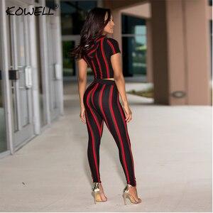 Image 2 - Stripe Casual kobiety kombinezon Romper drukowanie elastyczny dwuczęściowy garnitur kombinezon wysokiej talii Fitness Playsuit kombinezony Plus rozmiar