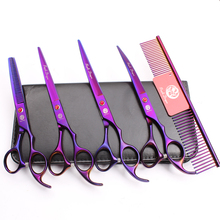 Z3003 5Pcs Set 7 Violet Pets Hair Steel Comb + Cutting Shears Thinning Scissors Professional Dogs Cats Curved Suit