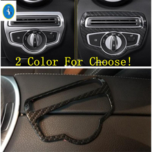 Yimaautotrims Auto Accessory Head Lights Headlight Lamp Switch Button Cover Trim Fit For Mercedes Benz C CLASS W205 2014 - 2017 yimaautotrims auto accessory front fog lights lamp eyelid eyebrow cover trim for mercedes benz c class w205 sedan 2015 2018
