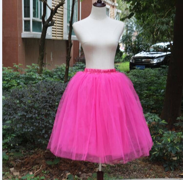 Тюлевая юбка принцессы, пышная Женская Лолита, белая сетчатая юбка, балетная юбка для девочки, 5XL размера плюс, черная одежда для рождественской вечеринки, танцевальная одежда - Цвет: Розово-красный
