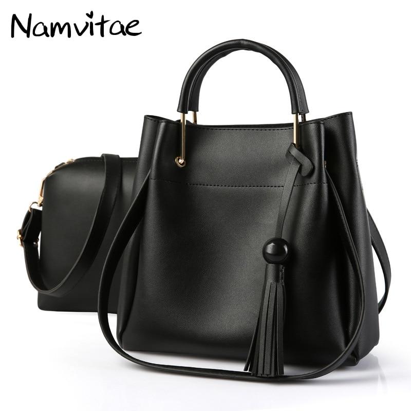 Namvitae Women Shoulder Bag Tassel 2 bags/Set Tote Bag Vintage Pu Leather Handbag Purse Bags Female Detachable Shoulder Straps цена и фото