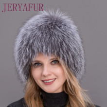 Hot Sale 100% Natural Silver Fox Fur Women Winter Hat Knitte