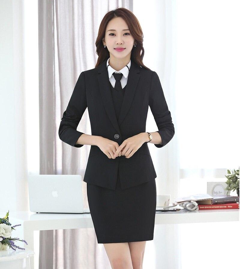 Negro Chaqueta Y Aidenroy Vestido azul Formal Blazer Negocios Para De Mujeres  Traje Conjuntos Elegante Oficina ... a87a3f9ed134