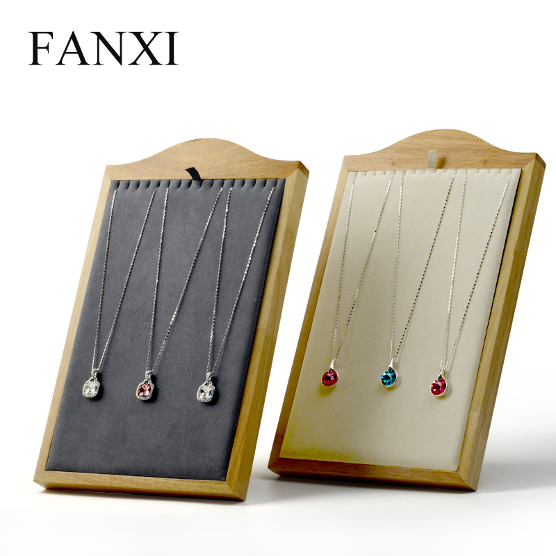 FANXI New Beige Gray Necklace Display Stand Pendant Holder Shelf Solid Wood with Microfiber Jewelry Dispaly Organizer Showcase in Jewelry Packaging Display from Jewelry Accessories