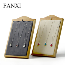 FANXI New Beige & Gray Necklace Display Stand Pendant Holder Shelf Solid Wood with Microfiber Jewelry Dispaly Organizer Showcase