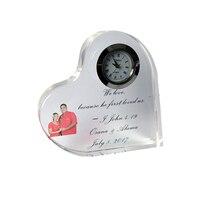 Personalzied Цвет с принтом в форме сердца для свадьбы прозрачные часы, пресс-папье свадебные для подарка