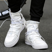 Rommedal shoes Men Leather White Black High Top Bra
