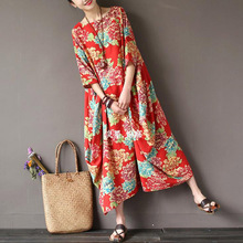 SCUWLINEN 2017 Women Summer Dress Vintage National Trend Flower Prints Long Fluid Loose Plus Size Half Sleeve Casual Linen Robe