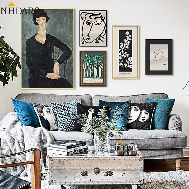 HTB1qQauSVzqK1RjSZFvq6AB7VXaH Classic Amedeo Modigliani Picasso Artwork Collection Sketch Canvas Print Painting Poster Wall Pictures Living Room Home Decor