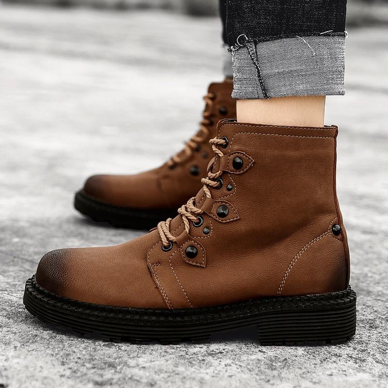 brown Hommes Confortable Vert La Rétro Chaussures Brun army Martins 38 Taille 46 Green Mode Black Pour Casual Britannique Bottes Mâle Plus Armée qxIHn0EE4