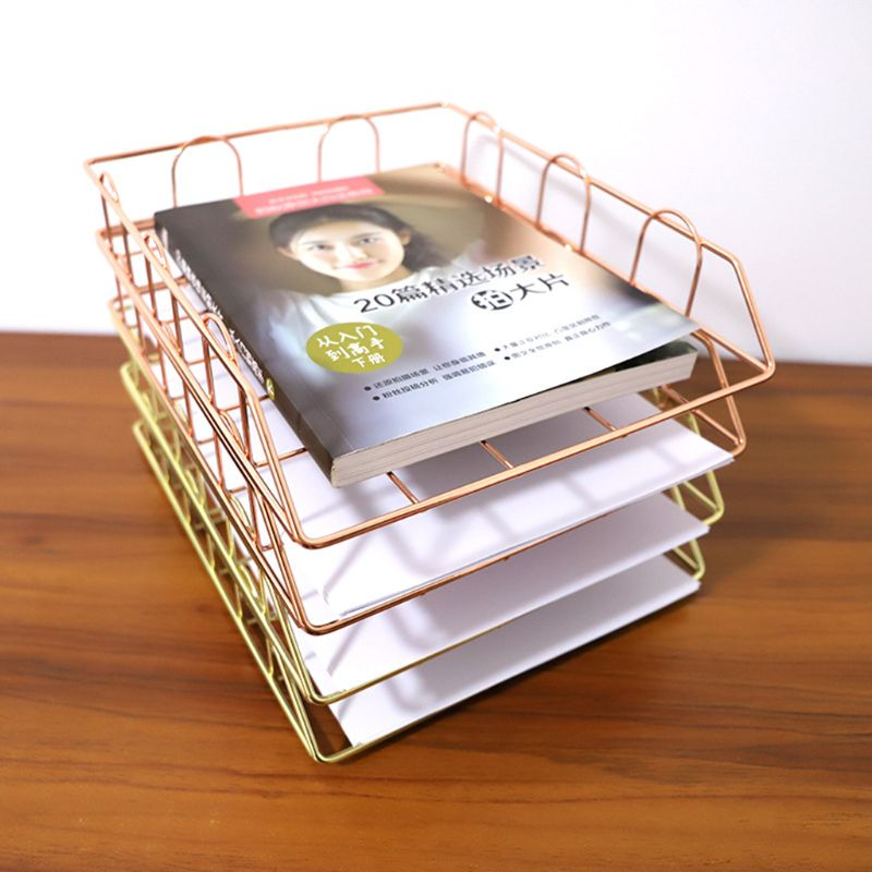 Folding Wrought Iron Letter Magazine Newspaper Holder Storage Rack File Tray for Office Desk Organizer Supplies L29K