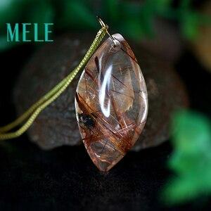 Image 4 - טבעי גן קריסטל אמיתי 18 k זהב תליון לנשים וגבר, אדום צבע מים drop צורת ghost hairstone תכשיטים
