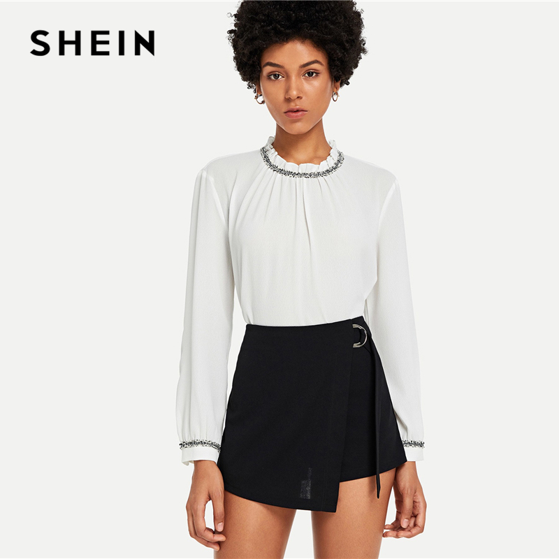 SHEIN Black Elegant Office Lady Wrap Solid Knot Zipper Mid Waist Fly Solid Shorts 2018 Summer