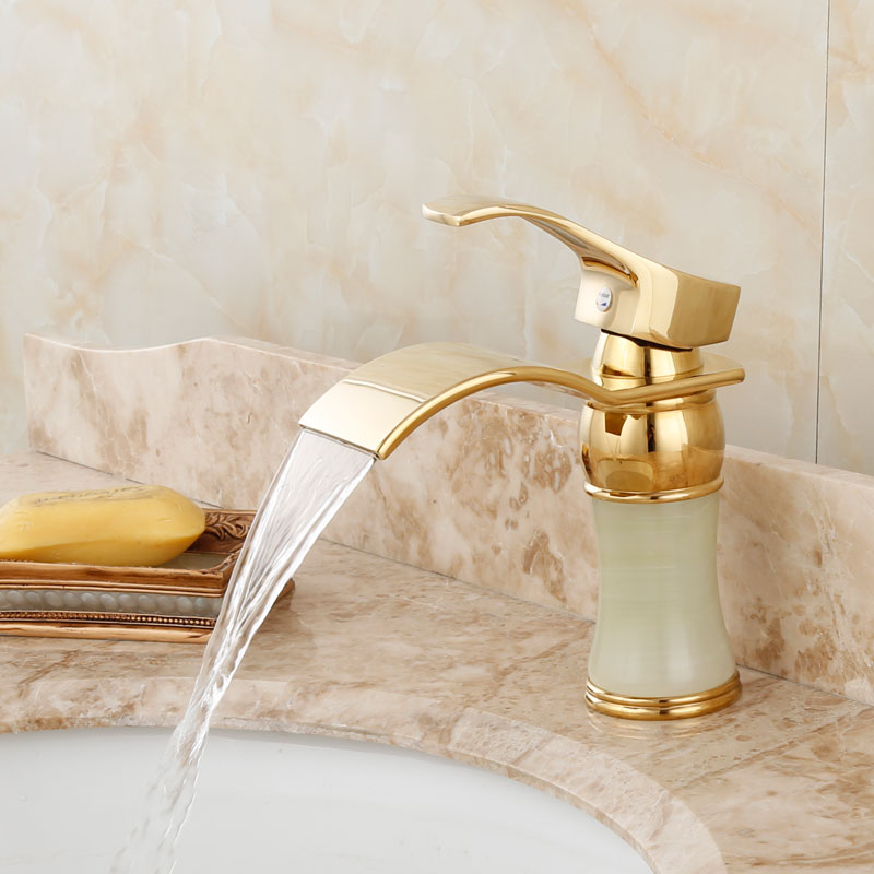 New Arrival Deck mounted brass and Jade waterfall faucet Bathroom Basin faucet Gold Sink Faucet Bath tap Basin Sink Faucet free shipping gold clour wall mounted vessel sink faucet basin waterfall faucet
