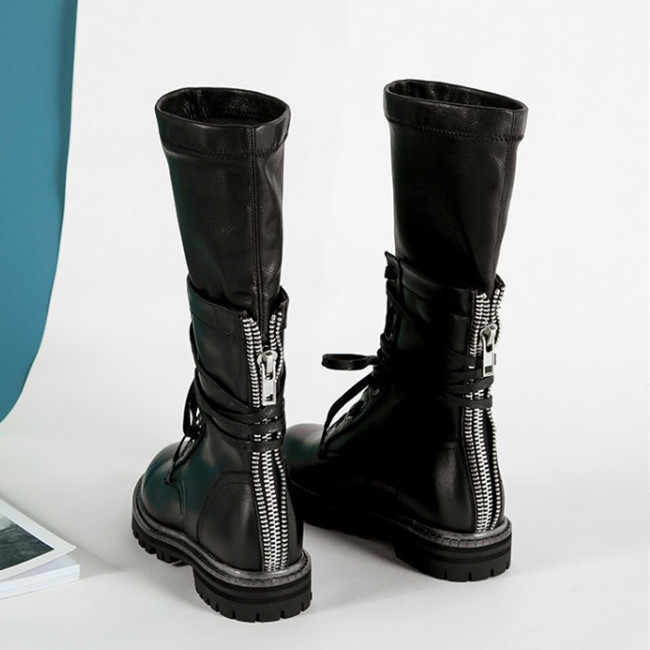 Women Vintage Combat Army Military Bikers Flat Lace Up Boots Shoes Size Low Heel