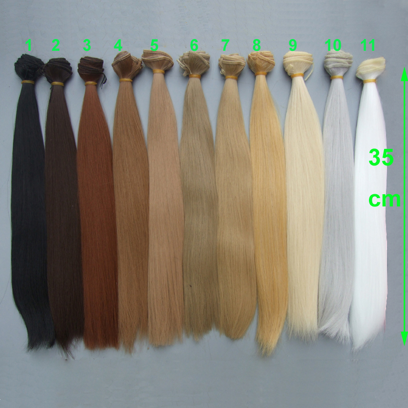 natural color 35cm doll hairs high temperature heat resistant straight BJD diy doll wigs