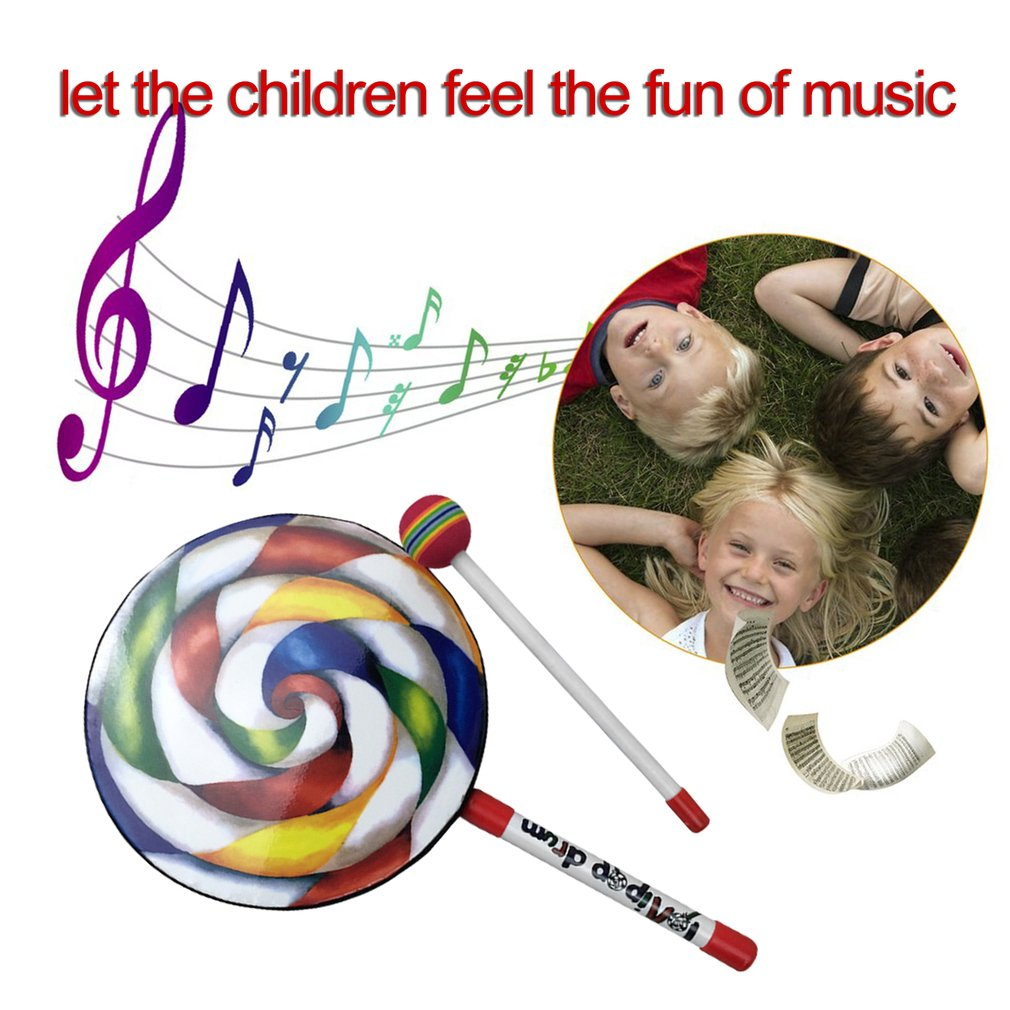Lollipops Pattern Colorful Drum Percussion Instrument For Kids Kindergarten Musical Teaching Early Education Baby Toys Gift