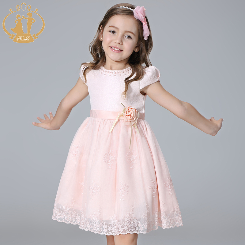 Nimble Girls clothes Princess Embroidery Bow Handmade Flowers Beaded Pearls clothes Elegant Lace clothes for girl vestidos moana