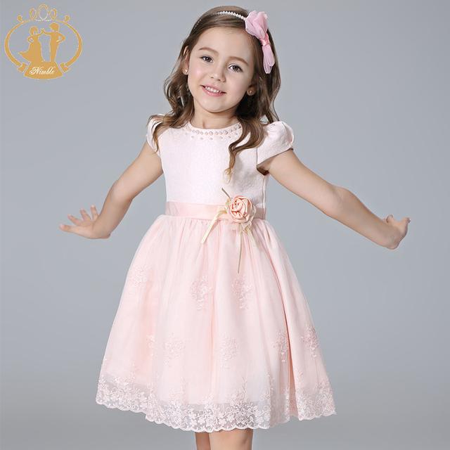 Nimble niñas vestido de princesa bordado arco vestidos de flores hechas a mano con cuentas de perlas elegante vestido de encaje