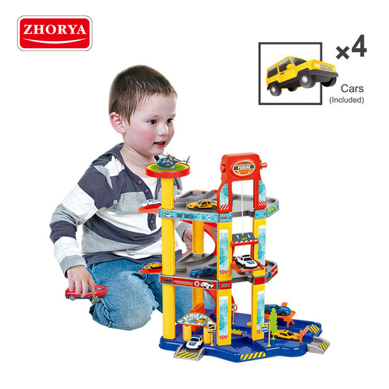 Zhorya toys Pipeline railcar toys Simulation parking facility Vehicle Toy Roller Coaster Toys for children Birthday gifts