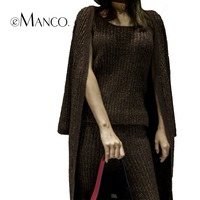 EManco Sweater Pants Camisole Sets For Women Plus Flexible Slim Sleeves Popular Winter Warm Clothing