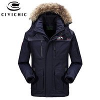 CIVICHIC Top Quality Men's Warm Coat Winter Windproof Down Jacket Casual Eiderdown Outerwear Thick Medium Long Hooded Parka DC02