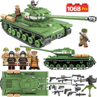 1068pcs Military Soldier Weapon Building Blocks Compatible LegoINGLY Tank WW2 Bricks IS 2M Heavy Tank Army 100062 Toys for Boys