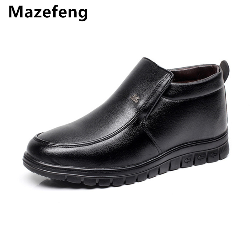 2017 Mazefeng Winter Men Dress Shoes With Velvet Trend Round Toe Business Affairs Men Leather Shoes Keep Warm Male Leather Shoes