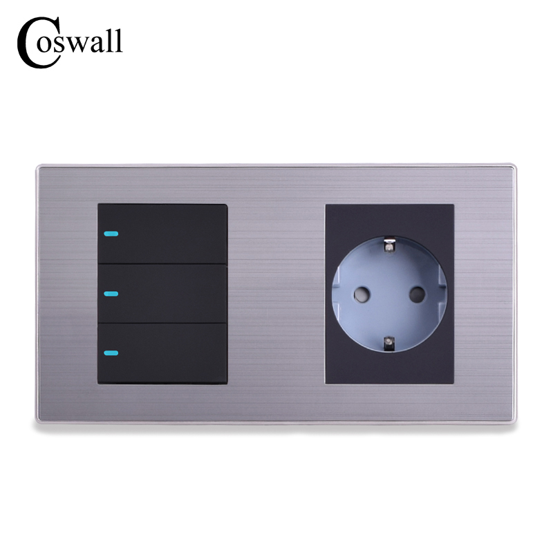 Coswall 16A EU Standard Wall Socket + 3 Gang 1 Way Push Button Light Switch With LED Indicator Stainless Steel Panel 160*86mm 10a universal socket and 3 gang 1 way switch wallpad 146 86mm white crystal glass 3 push button switch and socket free shipping