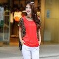 Más el Tamaño XL-3XL encaja 40-90 kg de Las Mujeres Tapas de la Blusa Corta camisetas Nuevo Estilo de Moda de Verano Vestido Ocasional camisas de Algodón Mujer camisas
