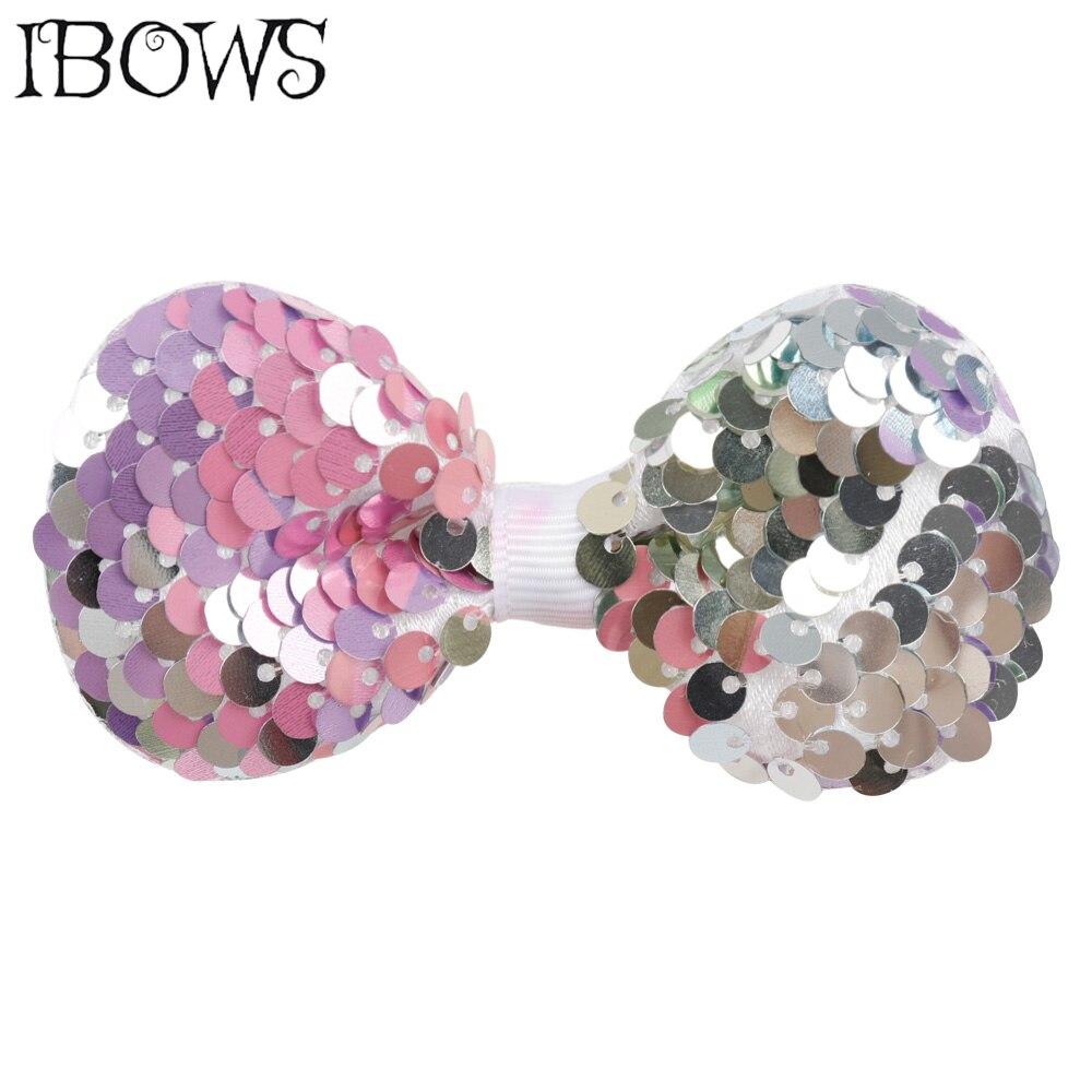 3 Inch Hair Accessories Girl Small Embroidered Sequin Hair Bows Rainbow Hair Clips For Kids Cute Bling Hairpins Headwear