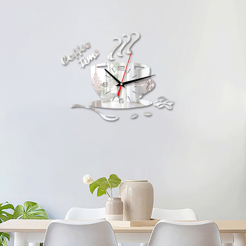 3D DIY Acrylic Watch Wall Clocks Coffee Timeclock Cup Shape Wall Sticker Hollow Numeral Clock For Kitchen Home Decoration