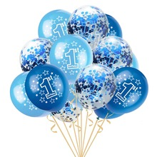 цена 16pcs Baby Shower Boy Girl Latex Balloons Confetti Happy Birthday Balloon Set Kids 1st Birthday Party Decoration в интернет-магазинах
