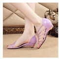 2017 Summer New Korean Fashion Sandals Women Thick With Low-Heeled Shoes Sexy Female Fish Head Elegant Shoes Women Purple