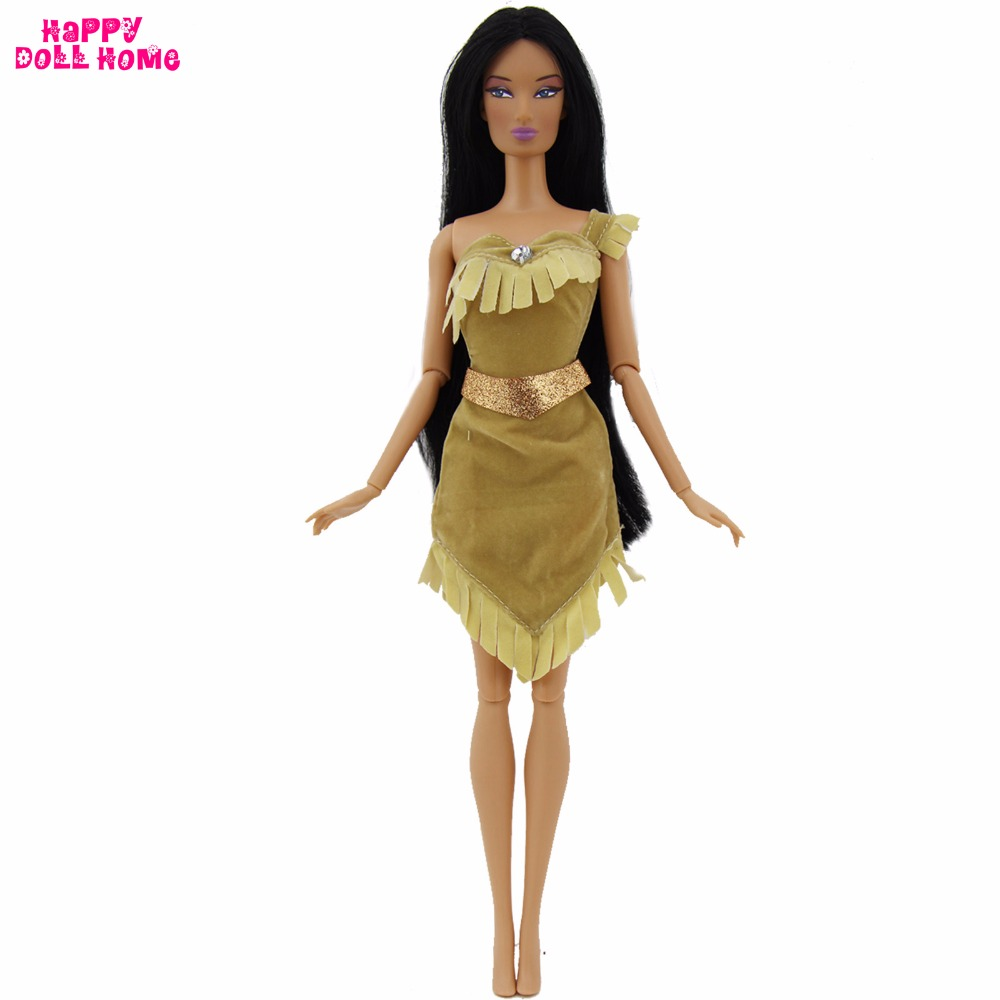 1x Princess Dress Copy Pocahontas Outfit Indian Fairy Tale Wedding Party Costume For Barbie FR Kurhn Doll Clothes Accessories 91