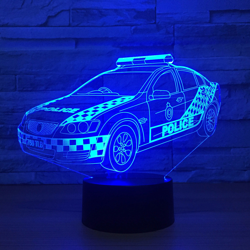 3D Police Visual Led Home Decor Gradients Modelling Desk Lamp For Kid Touch Button Car Night Light Baby Sleep Usb Lighting Gifts