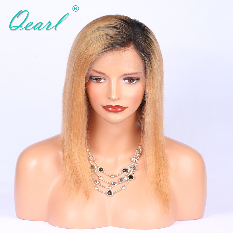 Qearl Ombre Brazilian Remy Hair Lace Front Wigs Deep Side Parting Straight Human Hair Short Wig Real Soft Women Hair Baby Hairs