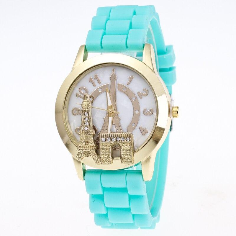 Fashion Ladies Watch Quartz Clock Silicone Eiffel Tower Wristwatch for Women Girl Student Timer Pink BlackFashion Ladies Watch Quartz Clock Silicone Eiffel Tower Wristwatch for Women Girl Student Timer Pink Black