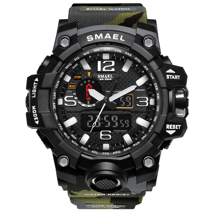 SMAEL Sport Men Digital Watch Men Dual Display Wristwatch Military Army Led Waterproof Male Clock Relogio Masculino Hodinky 41 2017 new men digital sports military watch electronic dual time zone waterproof army watch relogio masculino relogio militar