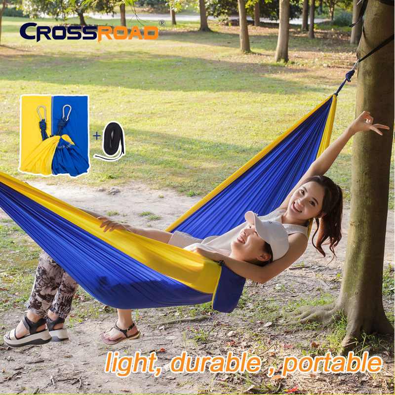 NEWArrive 260x145cm 2 person hanging Hammock chair double with straps parachute portable Outdoor garden swing indoor for bedroom
