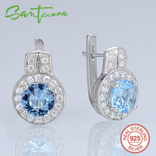 Silver Clip Earrings for Woman Round Sky Blue & White Cubic Zirconia Ladies Pure 925 Sterling Silver Party Fashion Jewelry
