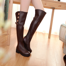 size 34-40 2016 fashion women's high boots square low heel shoes winter sexy warm long women motorcycle wedding snow